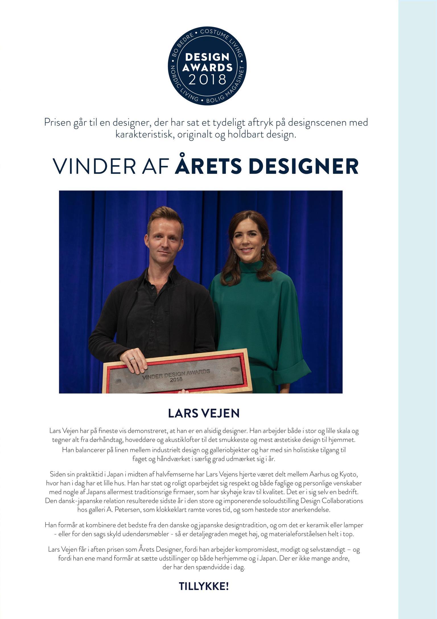Lars Vejen Årets Designer 2018 Kronprinsesse Mary