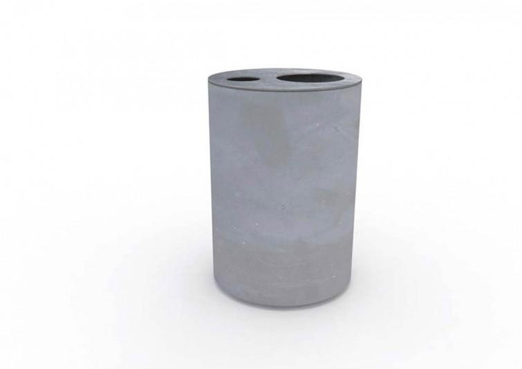 SOLID outdoor concrete furniture waste bin by Lars Vejen for Veksoe