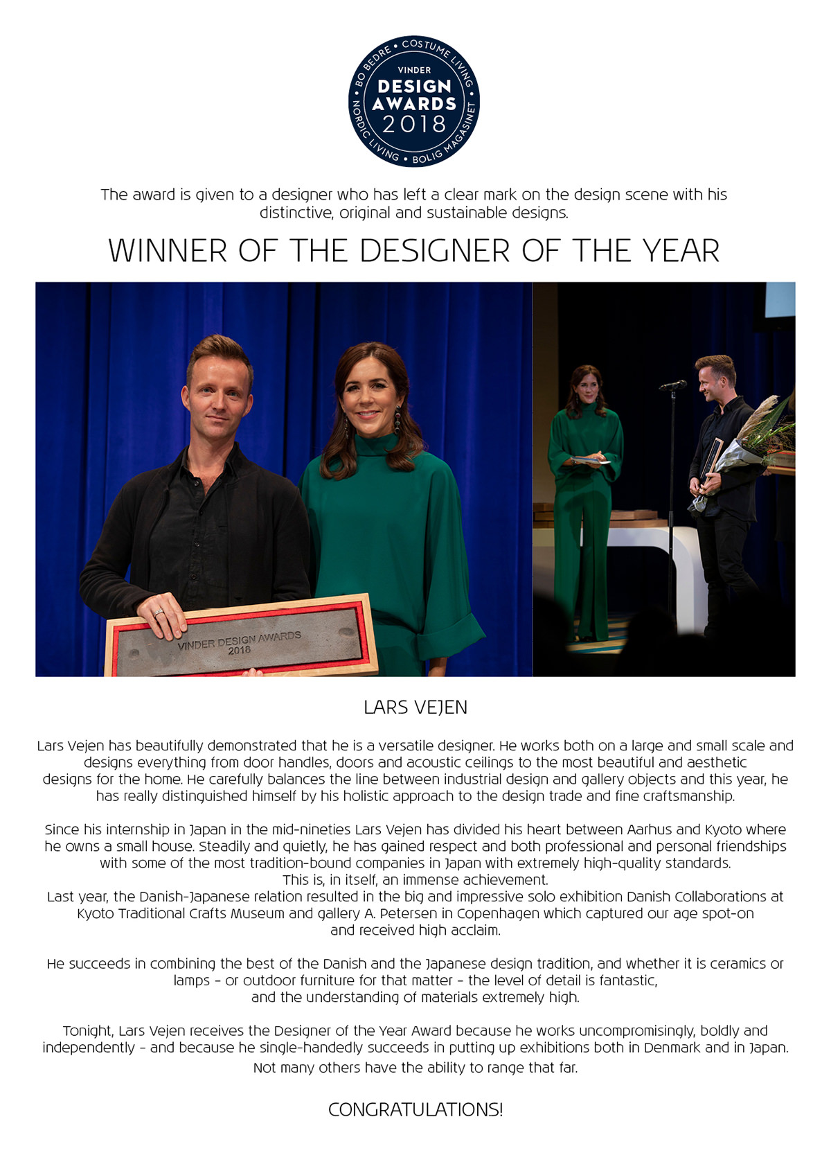 Lars Vejen Designer of the year 2018 Crown prinsesse Mary GB
