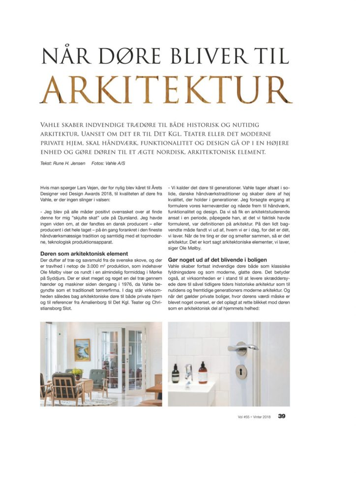 Lars Vejen danish design Vahle door VOL.magazine
