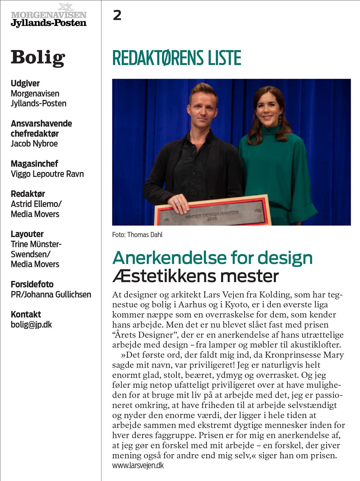 Lars Vejen Årets Designer Kronprinsesse Mary Jyllands-Posten_2018-10-07